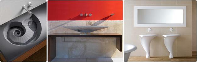 Designwaschbecken: ausgehölte Becken, Holz-Stein-Arrangements, Formen