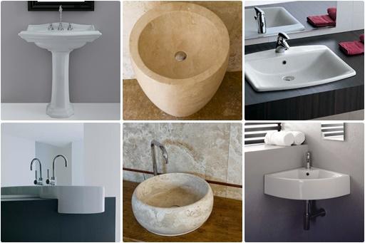 Waschbeckenarten: Standwaschbecken, integriert im Waschtisch, Halbeinbaubecken, Aufsatzbecken, Eckwaschbecken