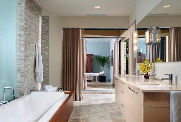 phil kane bathroom in travertine with bath and shower
