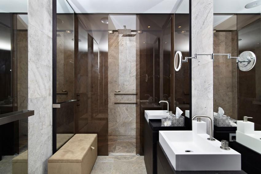 luxury bathroom with italian travertine floors