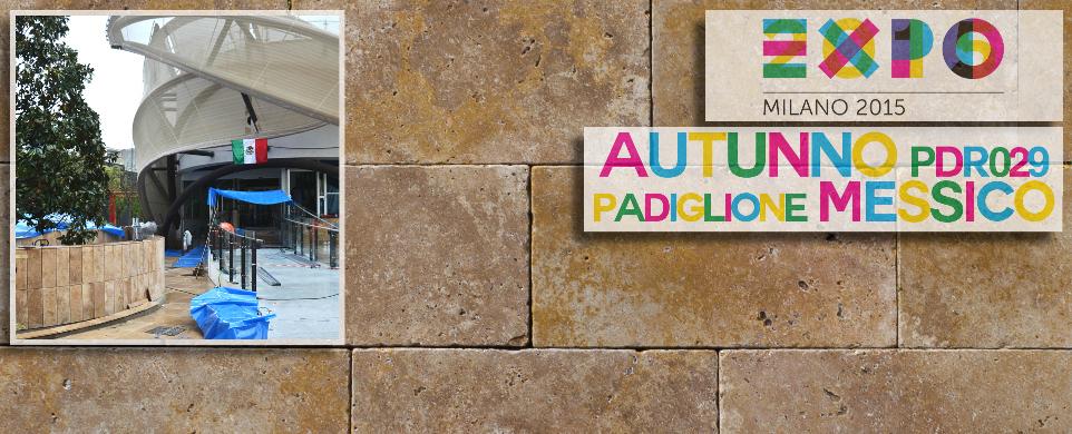 Mexiko Pavillon. Universal- expo . Architektur travertin boden naturstein pietre di rapolano