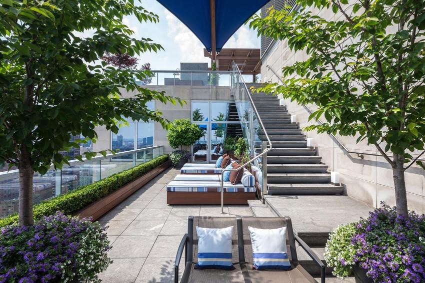 Penthouse in New York. Travertin Etagen . Luxus-Penthouse . Steinfassade . Travertin Fliesen.