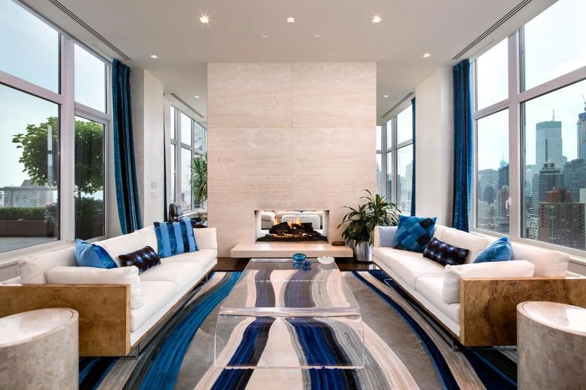 bleiben Travertin naturstein floor boden new york luxuryLuxus-Penthouse , Wohnzimmer mit Kamin , Travertin Etagen , Travertin klar