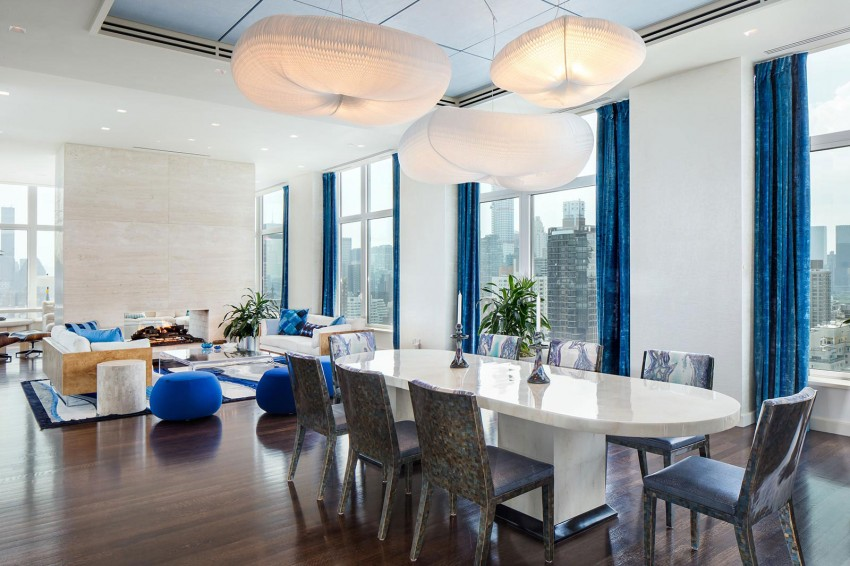 Beispiellose penthouse wohnung in new york mit travertin - Arredare salotto e sala da pranzo insieme ...
