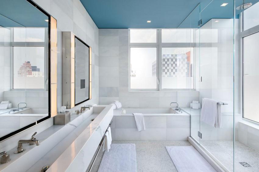 Luxus-Penthouse , Badezimmer aus Marmor, weißem Marmor , italienischem Marmor , Luxus-Badezimmer , Marmorbad, ernest de la torre designer
