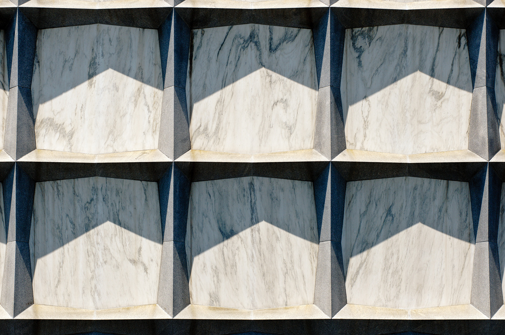 Detail view of the translucent Danby marble facade.