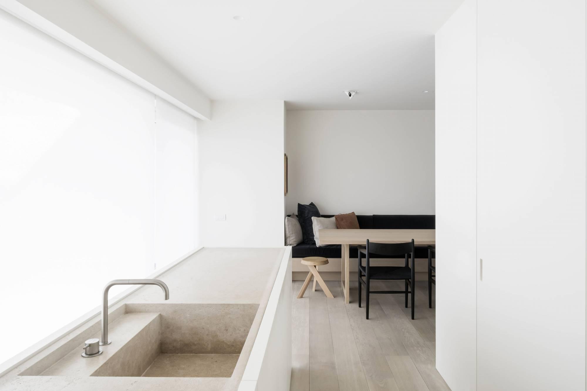travertine kitchen sink, stone, color palette, minimal interior by vincent van duysen