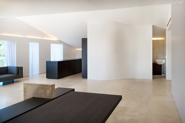 Luxus penthouse lounge raum mit aussicht auf stadt fototapete